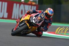 San Marino Italy - Maj 12: Lag för Nicky Hayden USA Honda CBR1000RR Honda världsSuperbike i handling royaltyfri bild