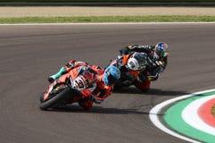 San Marino Italy - Maj 11, 2018: Marco Melandri ITA Ducati Panigale R Aruba det som springer - Ducati lag, i handling Fotografering för Bildbyråer
