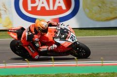 San Marino Italy - Maj 11, 2018: Michael Ruben Rinaldi Ducati Panigale R Aruba det som springer - Ducati lag, i handling Royaltyfri Bild