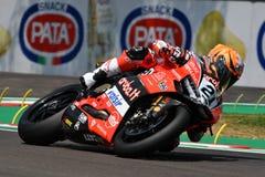San Marino Italy - Maj 11, 2018: Michael Ruben Rinaldi Ducati Panigale R Aruba det som springer - Ducati lag, i handling Royaltyfria Bilder