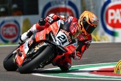 San Marino Italy - Maj 11, 2018: Michael Ruben Rinaldi Ducati Panigale R Aruba det som springer - Ducati lag, i handling Arkivbild