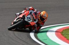 San Marino Italy - Maj 11, 2018: Michael Ruben Rinaldi Ducati Panigale R Aruba det som springer - Ducati lag, i handling Royaltyfri Foto