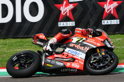 San Marino, Italy - May 12, 2017: Ducati Panigale R of Aruba.it Racing-Ducati SBK Team, driven by DAVIES Chaz in action during the Royalty Free Stock Photography