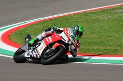 San Marino, Italy - May 12, 2017: Eugene Laverty IRL Aprilia RSV4 RF Milwaukee Aprilia, in action. During the Superbike Qualifying session on May 12, 2017 in Royalty Free Stock Images