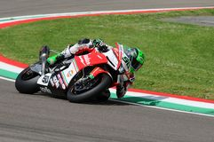 San Marino, Italy - May 12, 2017: Eugene Laverty IRL Aprilia RSV4 RF Milwaukee Aprilia, in action Royalty Free Stock Photo