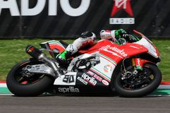 San Marino, Italy - May 12, 2017: Eugene Laverty IRL Aprilia RSV4 RF Milwaukee Aprilia, in action. During the Superbike Qualifying session on May 12, 2017 in Royalty Free Stock Image