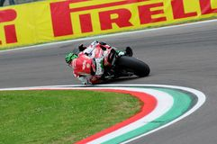 San Marino, Italy - May 12, 2017: Eugene Laverty IRL Aprilia RSV4 RF Milwaukee Aprilia, in action Stock Image
