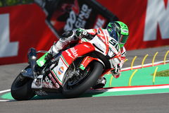 San Marino, Italy - May 12, 2017: Eugene Laverty IRL Aprilia RSV4 RF Milwaukee Aprilia, in action Stock Photo