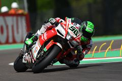 San Marino, Italy - May 12, 2017: Eugene Laverty IRL Aprilia RSV4 RF Milwaukee Aprilia, in action Royalty Free Stock Photography