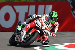 San Marino, Italy - May 12, 2017: Eugene Laverty IRL Aprilia RSV4 RF Milwaukee Aprilia, in action Royalty Free Stock Image