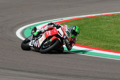 San Marino, Italy - May 12, 2017: Eugene Laverty IRL Aprilia RSV4 RF Milwaukee Aprilia, in action Royalty Free Stock Photos