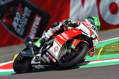 San Marino, Italy - May 12, 2017: Eugene Laverty IRL Aprilia RSV4 RF Milwaukee Aprilia, in action Stock Photos
