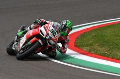 San Marino, Italy - May 12, 2017: Eugene Laverty IRL Aprilia RSV4 RF Milwaukee Aprilia, in action Royalty Free Stock Images