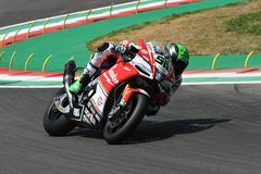 San Marino Italy - May 11, 2018: Eugene Laverty IRL Aprilia RSV4 RF Milwaukee Aprilia Team, in action. During the Superbike Qualifying session on May 11, 2018 Stock Images