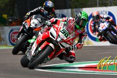 San Marino Italy - May 11, 2018: Eugene Laverty IRL Aprilia RSV4 RF Milwaukee Aprilia Team, in action stock photo