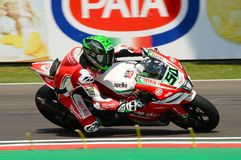 San Marino Italy - May 11, 2018: Eugene Laverty IRL Aprilia RSV4 RF Milwaukee Aprilia Team, in action. During the Superbike Qualifying session on May 11, 2018 Stock Photography