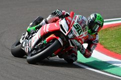 San Marino Italy - May 11, 2018: Eugene Laverty IRL Aprilia RSV4 RF Milwaukee Aprilia Team, in action. During the Superbike Qualifying session on May 11, 2018 Royalty Free Stock Photography