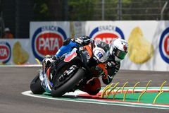 San Marino Italy - May 11, 2018: Leon Haslam GB Kawasaki ZX-10RR Kawasaki Puccetti Racing Team, in action during the Superbike Qua stock images