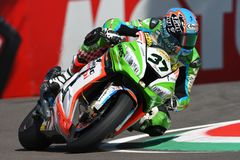 San Marino, Italy - May 12: Ondrej Jezek CZE Kawasaki ZX-10R Grillini Racing Team during qualifyng session Royalty Free Stock Photography