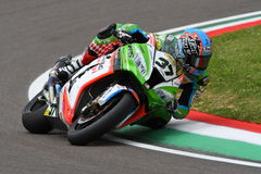 San Marino, Italy - May 12: Ondrej Jezek CZE Kawasaki ZX-10R Grillini Racing Team during qualifyng session Stock Images