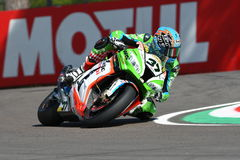 San Marino, Italy - May 12: Ondrej Jezek CZE Kawasaki ZX-10R Grillini Racing Team during qualifyng session Royalty Free Stock Image