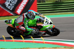 San Marino, Italy - May 12: Ondrej Jezek CZE Kawasaki ZX-10R Grillini Racing Team during qualifyng session Royalty Free Stock Photo