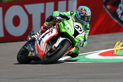 San Marino, Italy - May 12: Ondrej Jezek CZE Kawasaki ZX-10R Grillini Racing Team during qualifyng session Royalty Free Stock Images