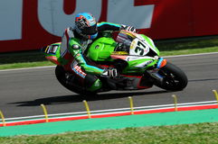 San Marino, Italy - May 12: Ondrej Jezek CZE Kawasaki ZX-10R Grillini Racing Team during qualifyng session Stock Photography