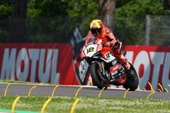 San Marino, Italy - May 12, 2017: Xavi Fores ESP Ducati Panigale R BARNI Racing Team in action Stock Photo
