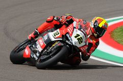 San Marino, Italy - May 12, 2017: Xavi Fores ESP Ducati Panigale R BARNI Racing Team in action Stock Photography