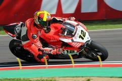 San Marino, Italy - May 12, 2017: Xavi Fores ESP Ducati Panigale R BARNI Racing Team in action Royalty Free Stock Images