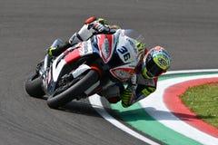 San Marino Italy - Mei 11, 2018: Leandro Mercado ARG die Kawasaki zx-10RR Orelac VerdNatura-Team, in actie rennen Royalty-vrije Stock Fotografie