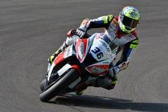 San Marino Italy - Mei 11, 2018: Leandro Mercado ARG die Kawasaki zx-10RR Orelac VerdNatura-Team, in actie rennen Stock Foto