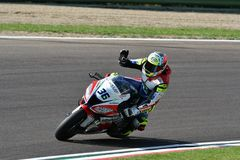 San Marino Italy - Mei 11, 2018: Leandro Mercado ARG die Kawasaki zx-10RR Orelac VerdNatura-Team, in actie rennen Stock Afbeelding