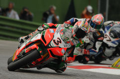 San Marino, Italy - Sept 24, 2010: Aprilia RSV4 Factory of Aprilia Racing Team, driven by Max Biaggi Stock Images