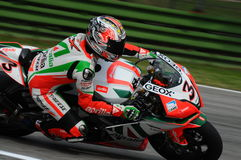 San Marino, Italy - Sept 24, 2010: Aprilia RSV4 Factory of Aprilia Racing Team, driven by Max Biaggi Stock Image