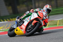 San Marino, Italy - Sept 24, 2010: Aprilia RSV4 Factory of Aprilia Racing Team, driven by Max Biaggi Stock Photo