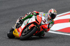 San Marino, Italy - Sept 24, 2010: Aprilia RSV4 Factory of Aprilia Racing Team, driven by Max Biaggi Royalty Free Stock Photo