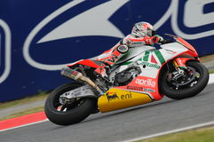 San Marino, Italy - Sept 24, 2010: Aprilia RSV4 Factory of Aprilia Racing Team, driven by Max Biaggi Stock Photos