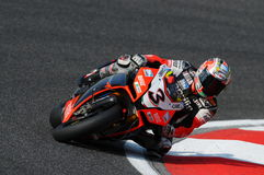 San Marino, Italy - Sept 26, 2009: Aprilia RSV4 Factory of Aprilia Racing Team, driven by Max Biaggi Stock Photo