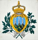 San Marino San Marino - Juli 10, 2017: Det statliga emblemet av republiken Royaltyfria Foton