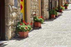 San Marino San Marino - Juli 10, 2017: landskapdesign av den sanmarinska gatan Blommor i krukar Fotografering för Bildbyråer