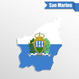 San Marino map with flag inside and ribbon. San  Marino map with flag inside and ribbon Royalty Free Stock Images