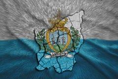 San Marino Map. Map of San Marino in National flag colors Stock Image