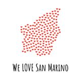 San Marino Map with red hearts - symbol of love. abstract background Stock Image