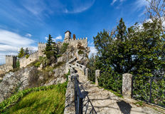 San Marino medieval castle. Rocca Guaita. Old rocks stairs stock image