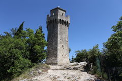 San Marino. Na-montering Titano Arkivbilder