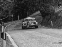 SAN MARINO, SAN MARINO - OTT 21 - 2017: Alte Rennwagensammlung FIATS 131 ABARTH 1977 DIE LEGENDE 2017 das berühmte SAN MARINO his Lizenzfreie Stockfotos