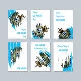San Marino Patriotic Cards para el día nacional stock de ilustración