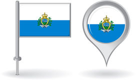 San Marino pin icon and map pointer flag. Vector Stock Image